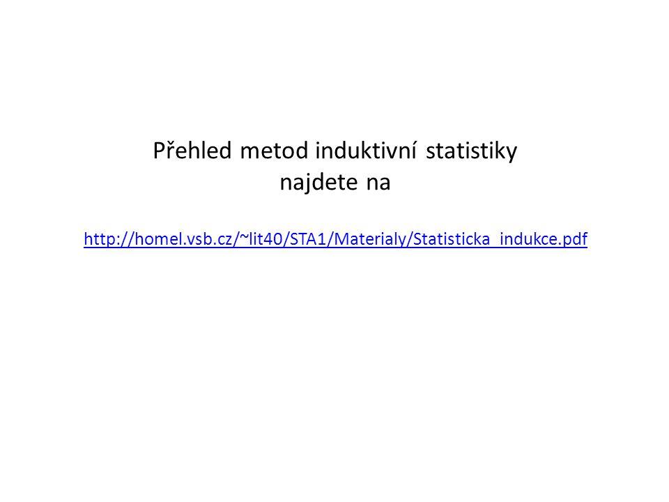 Přehled metod induktivní statistiky najdete na http://homel. vsb