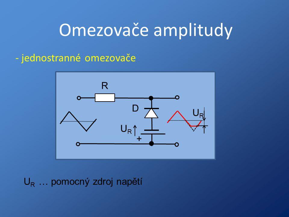 Omezovače amplitudy - jednostranné omezovače R D UR UR +