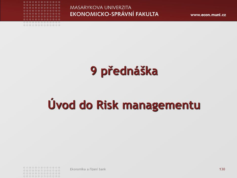 Úvod do Risk managementu