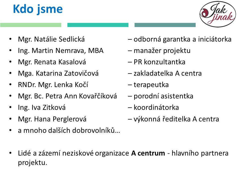 Kdo jsme Mgr. Natálie Sedlická – odborná garantka a iniciátorka
