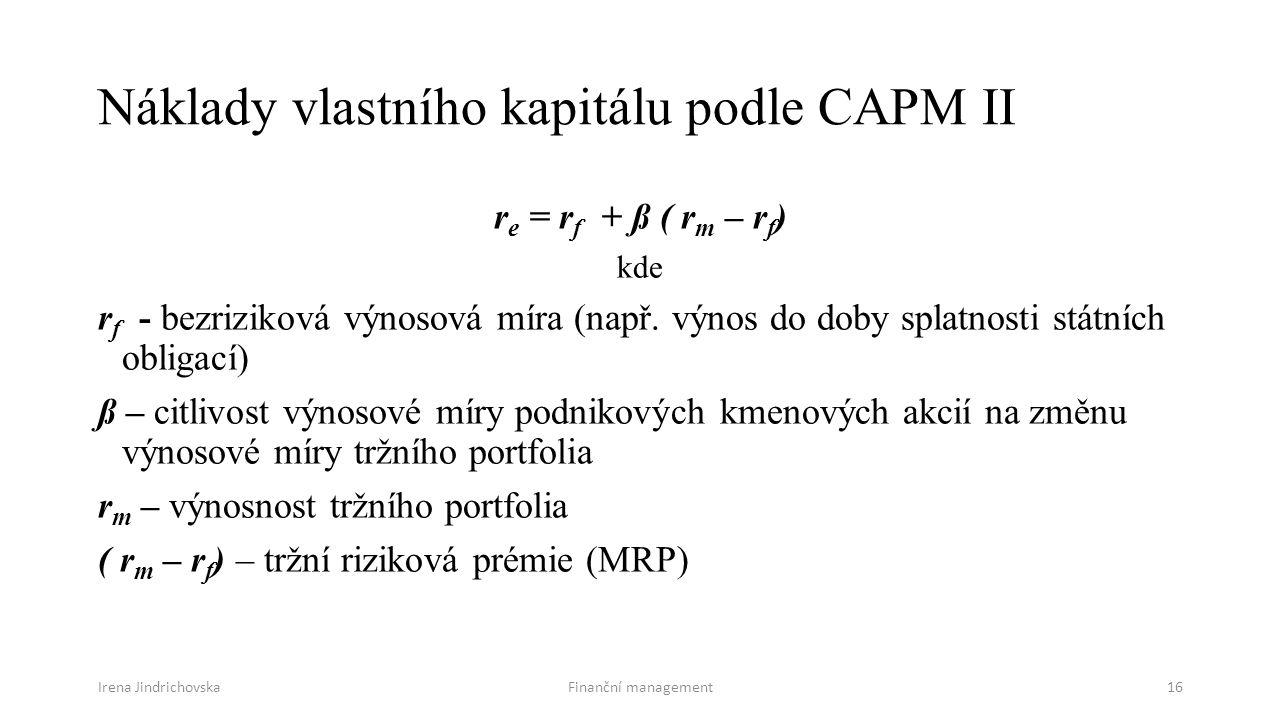 Náklady vlastního kapitálu podle CAPM II