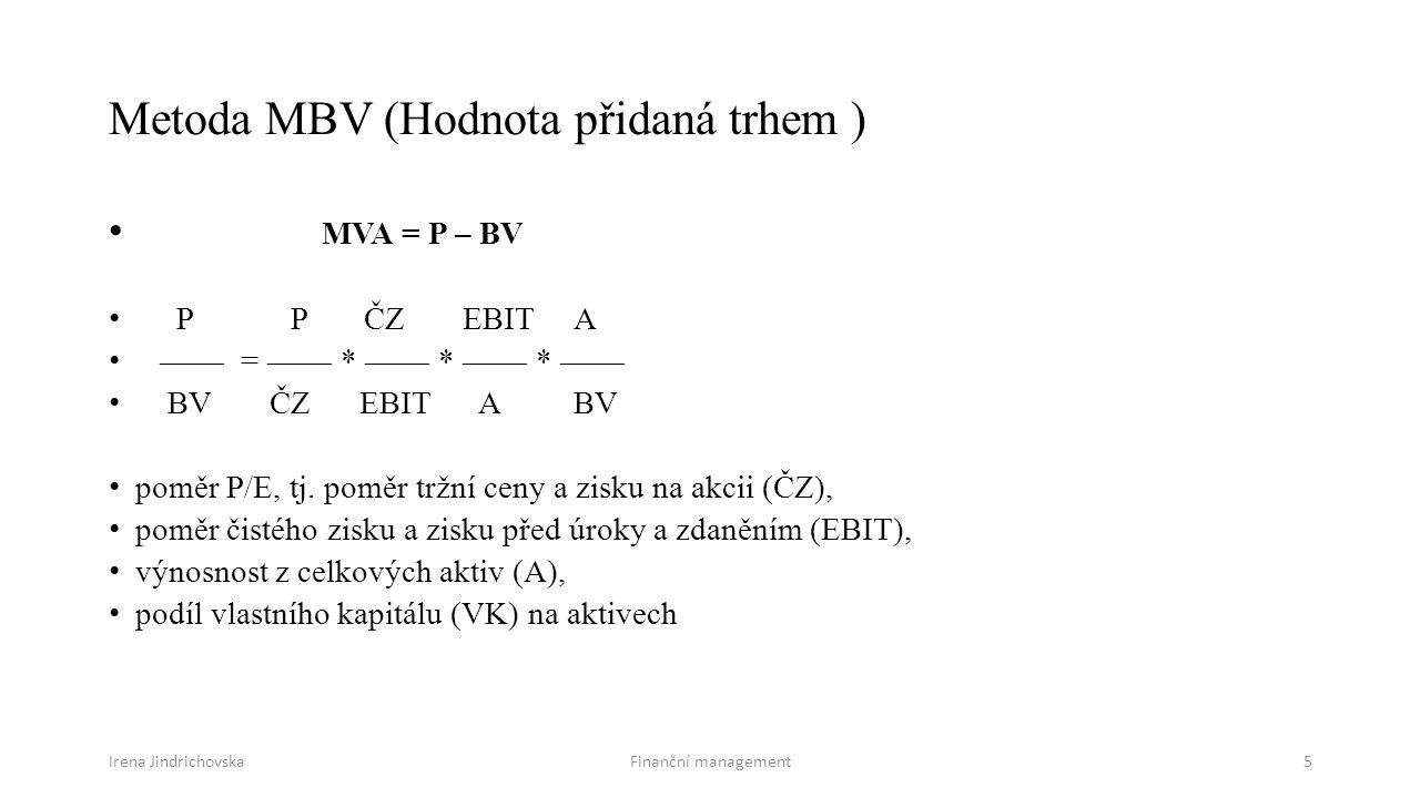 Metoda MBV (Hodnota přidaná trhem )