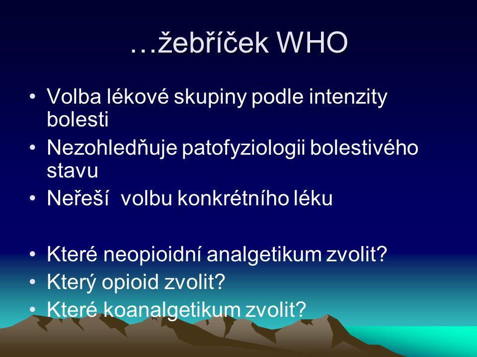 …žebříček WHO Volba lékové skupiny podle intenzity bolesti
