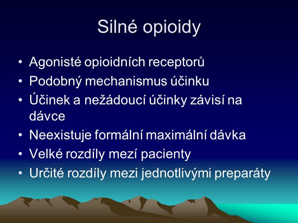 Silné opioidy Agonisté opioidních receptorů Podobný mechanismus účinku