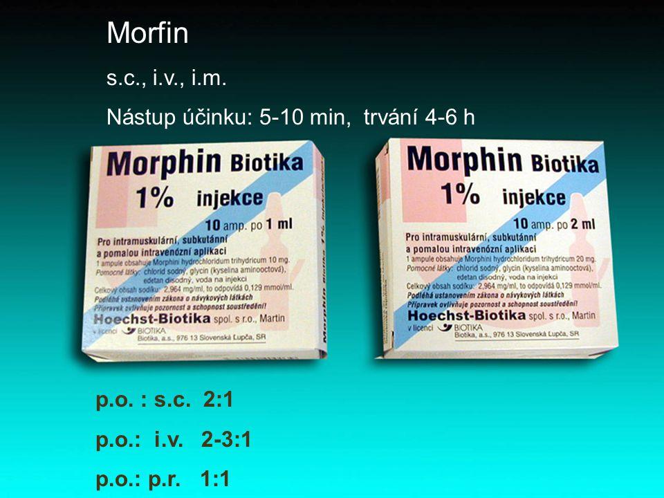 Morfin s.c., i.v., i.m. Nástup účinku: 5-10 min, trvání 4-6 h