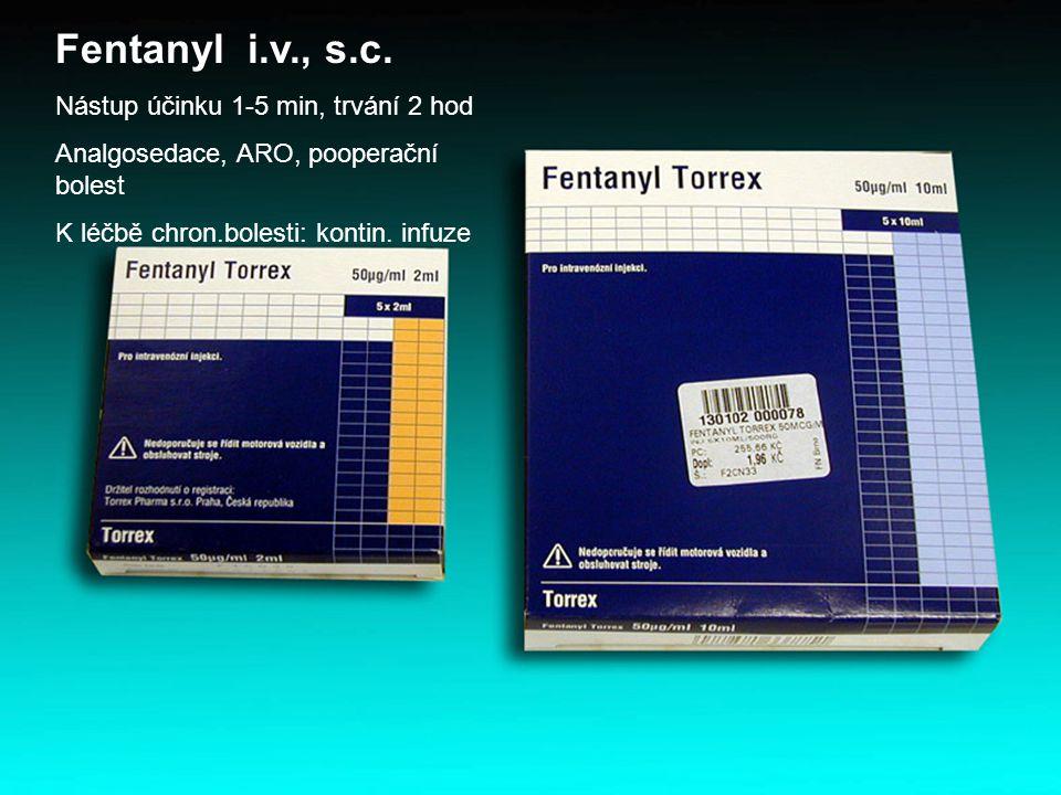 Fentanyl i.v., s.c. Nástup účinku 1-5 min, trvání 2 hod