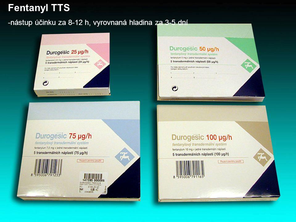 Fentanyl TTS -nástup účinku za 8-12 h, vyrovnaná hladina za 3-5 dní