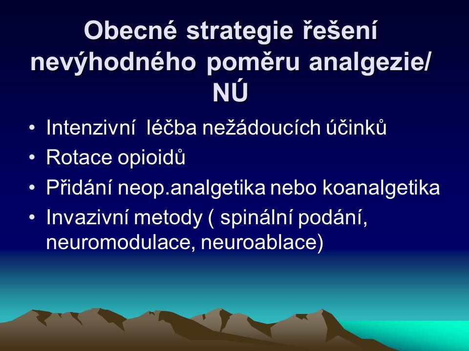 Obecné strategie řešení nevýhodného poměru analgezie/ NÚ
