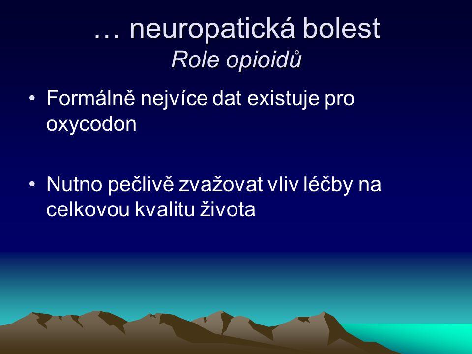 … neuropatická bolest Role opioidů