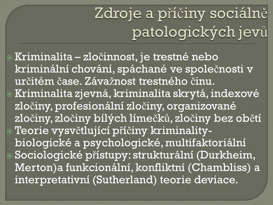 Zdroje a příčiny sociálně patologických jevů