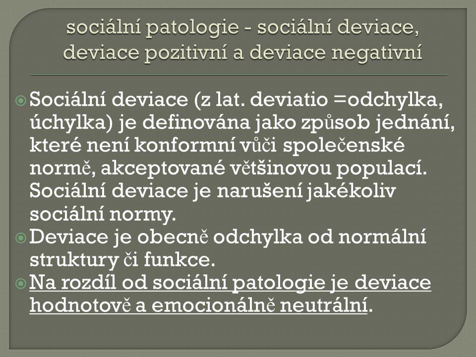sociální patologie - sociální deviace, deviace pozitivní a deviace negativní