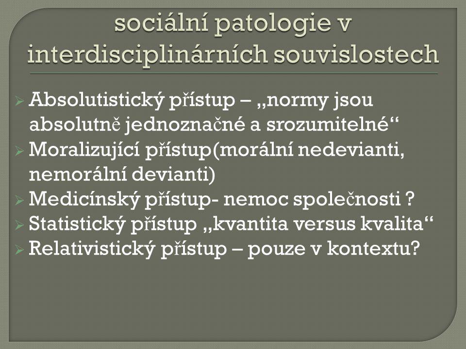 sociální patologie v interdisciplinárních souvislostech