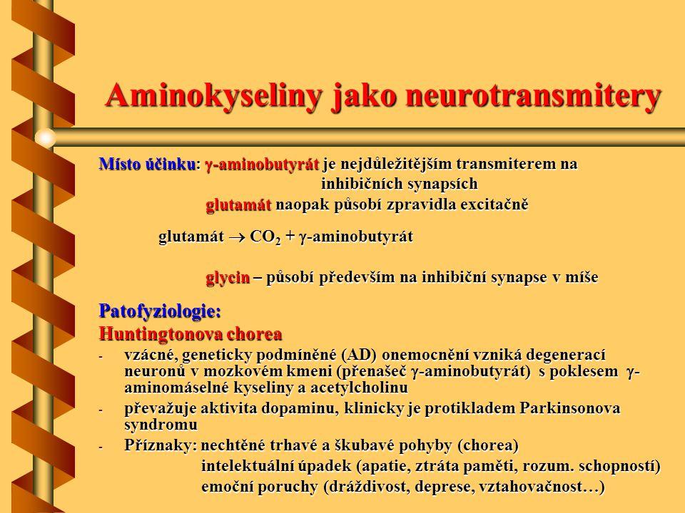 Aminokyseliny jako neurotransmitery
