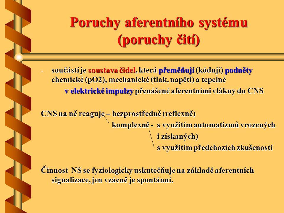 Poruchy aferentního systému (poruchy čití)