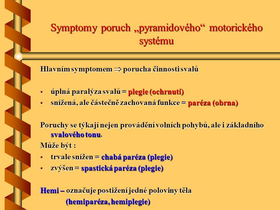 """Symptomy poruch """"pyramidového motorického systému"""