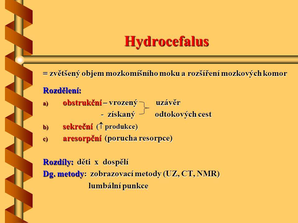 Hydrocefalus = zvětšený objem mozkomíšního moku a rozšíření mozkových komor. Rozdělení: obstrukční – vrozený uzávěr.