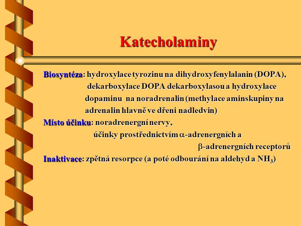 Katecholaminy Biosyntéza: hydroxylace tyrozinu na dihydroxyfenylalanin (DOPA), dekarboxylace DOPA dekarboxylasou a hydroxylace.