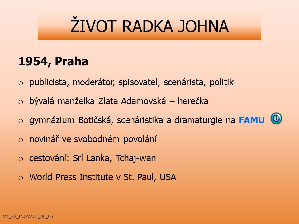 ŽIVOT RADKA JOHNA 1954, Praha
