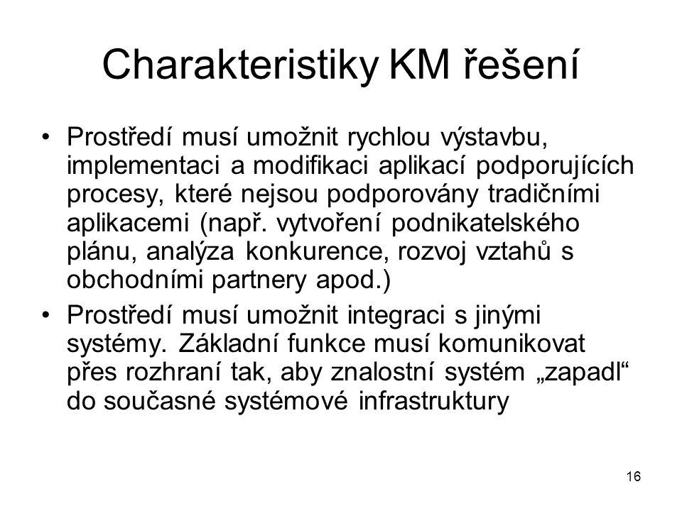 Charakteristiky KM řešení