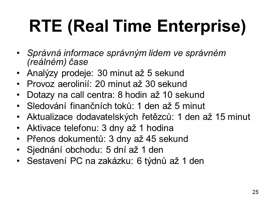 RTE (Real Time Enterprise)