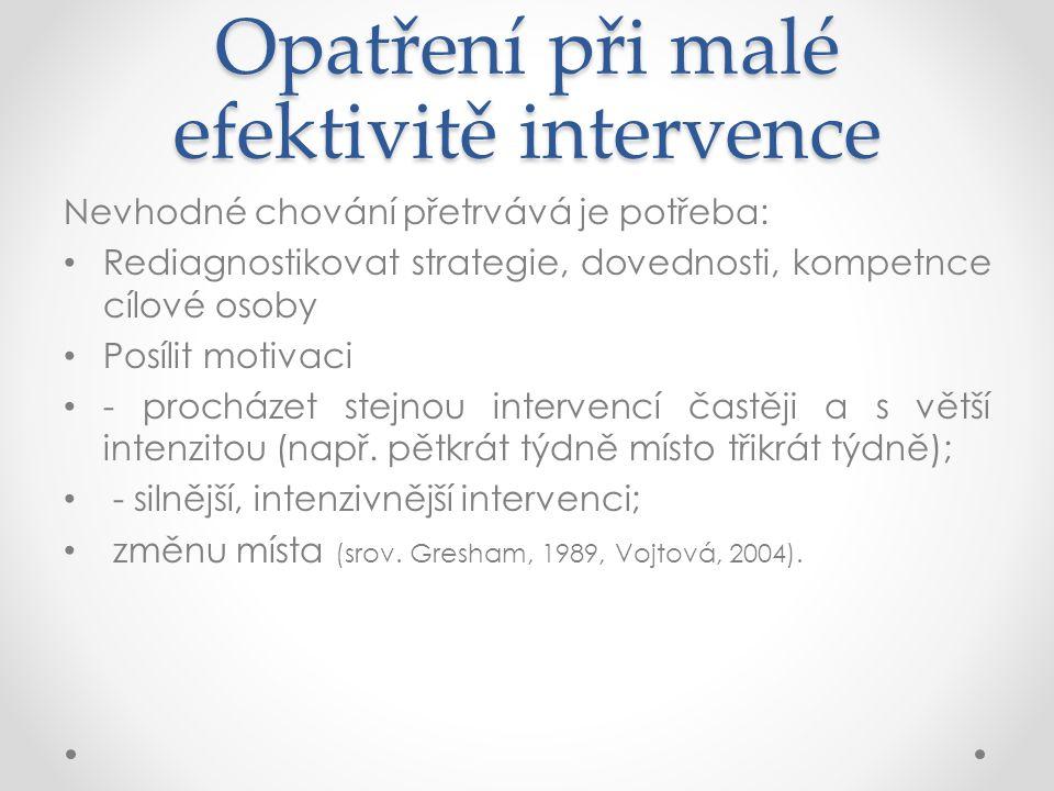 Opatření při malé efektivitě intervence
