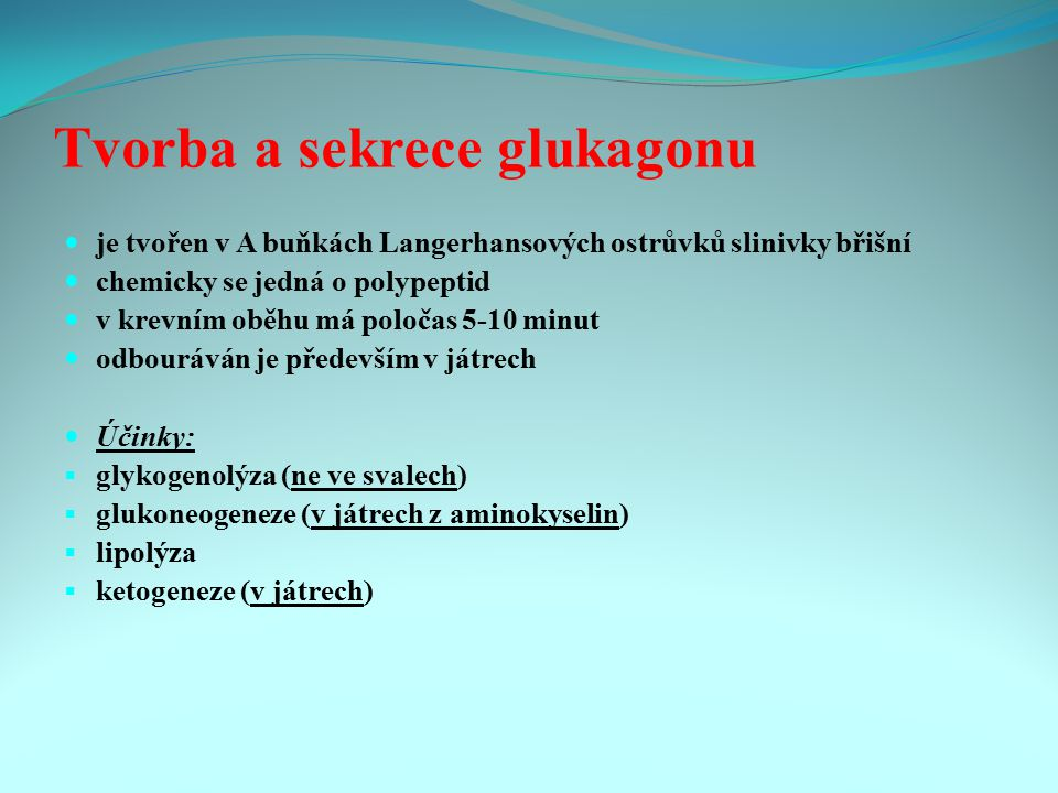 Tvorba a sekrece glukagonu