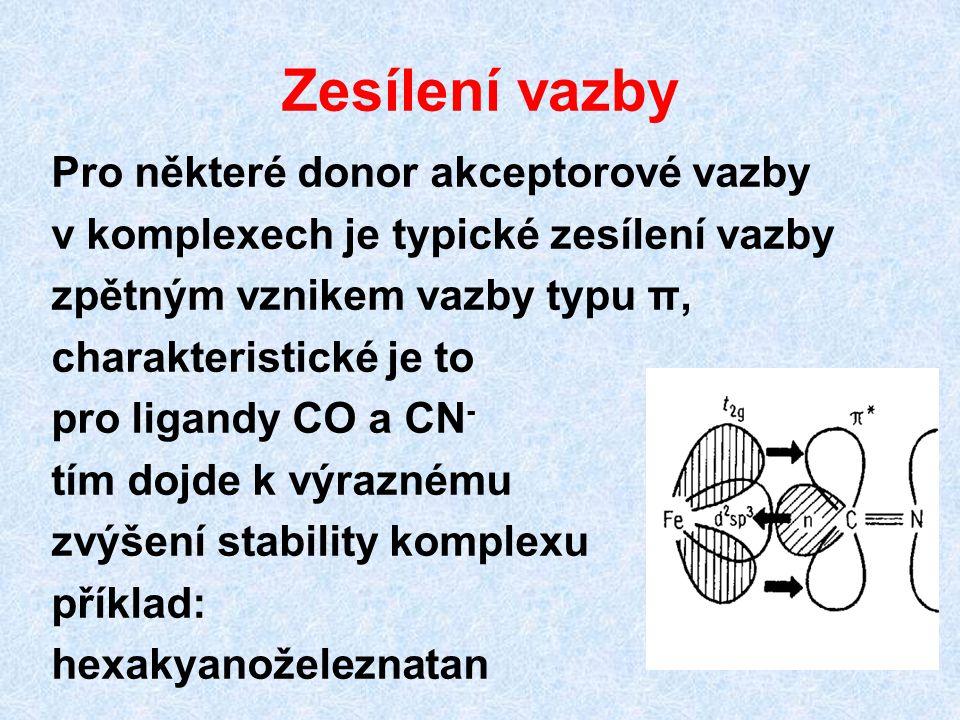 Zesílení vazby Pro některé donor akceptorové vazby