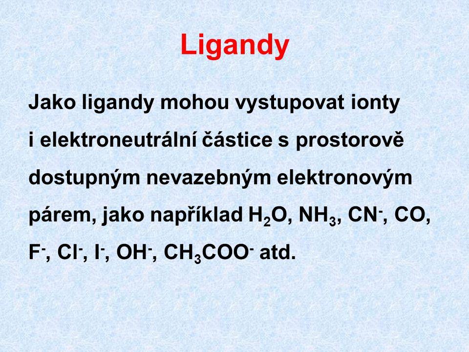 Ligandy Jako ligandy mohou vystupovat ionty