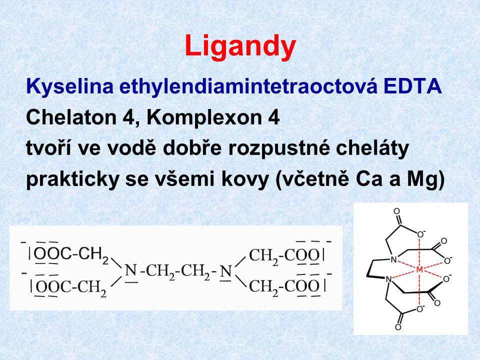 Ligandy Kyselina ethylendiamintetraoctová EDTA Chelaton 4, Komplexon 4