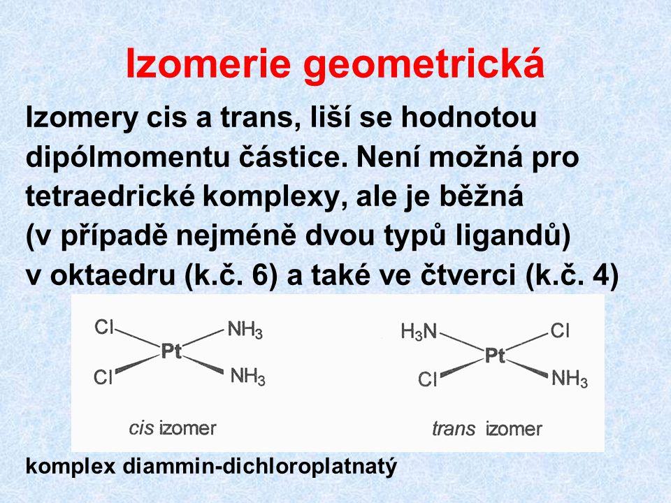 Izomerie geometrická Izomery cis a trans, liší se hodnotou