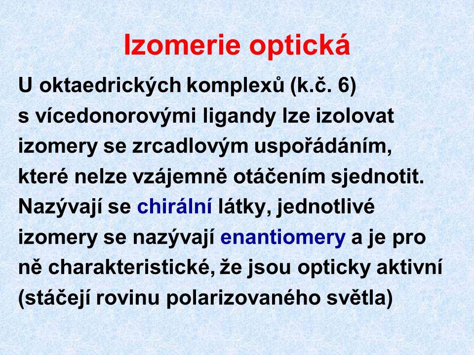 Izomerie optická U oktaedrických komplexů (k.č. 6)