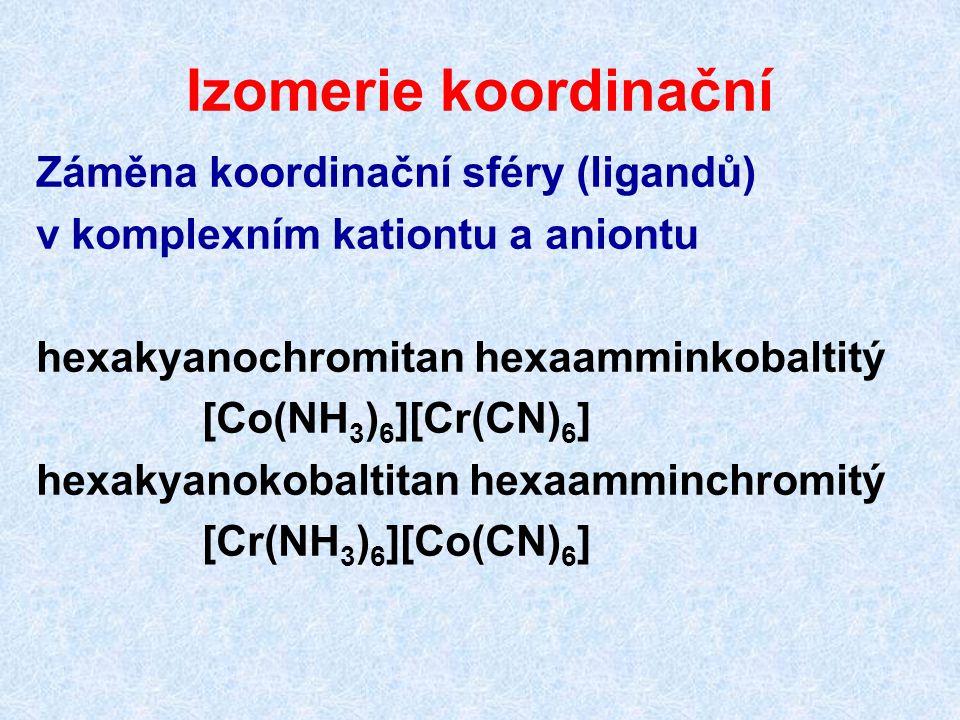 Izomerie koordinační Záměna koordinační sféry (ligandů)