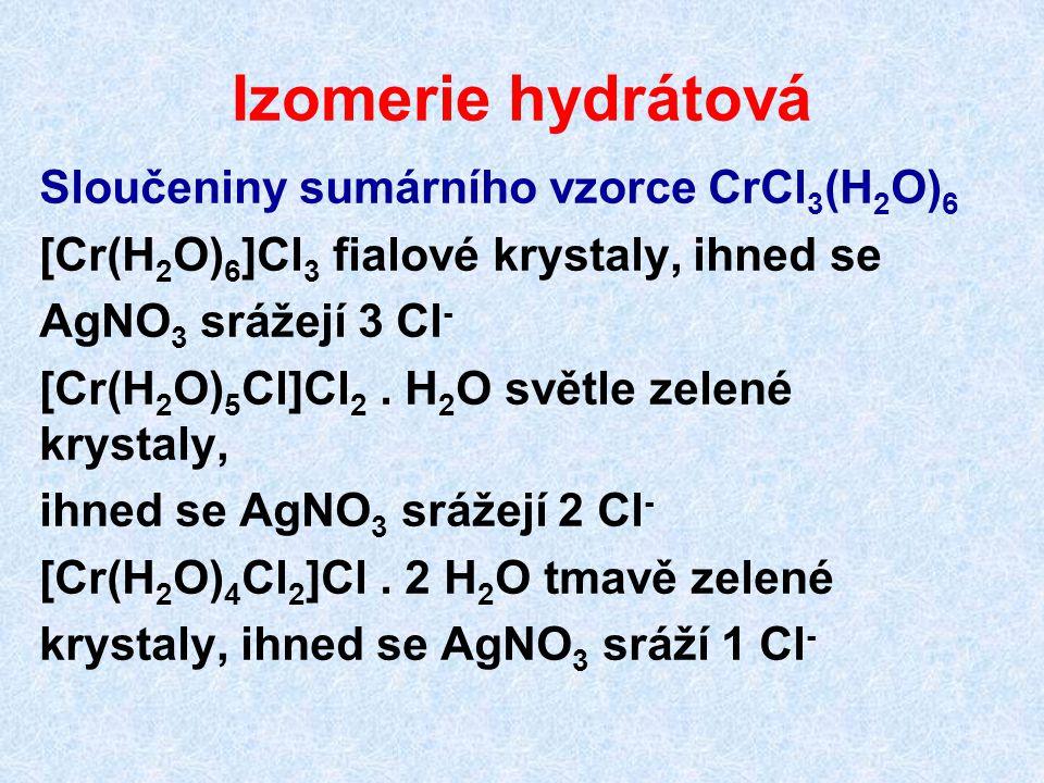 Izomerie hydrátová Sloučeniny sumárního vzorce CrCl3(H2O)6