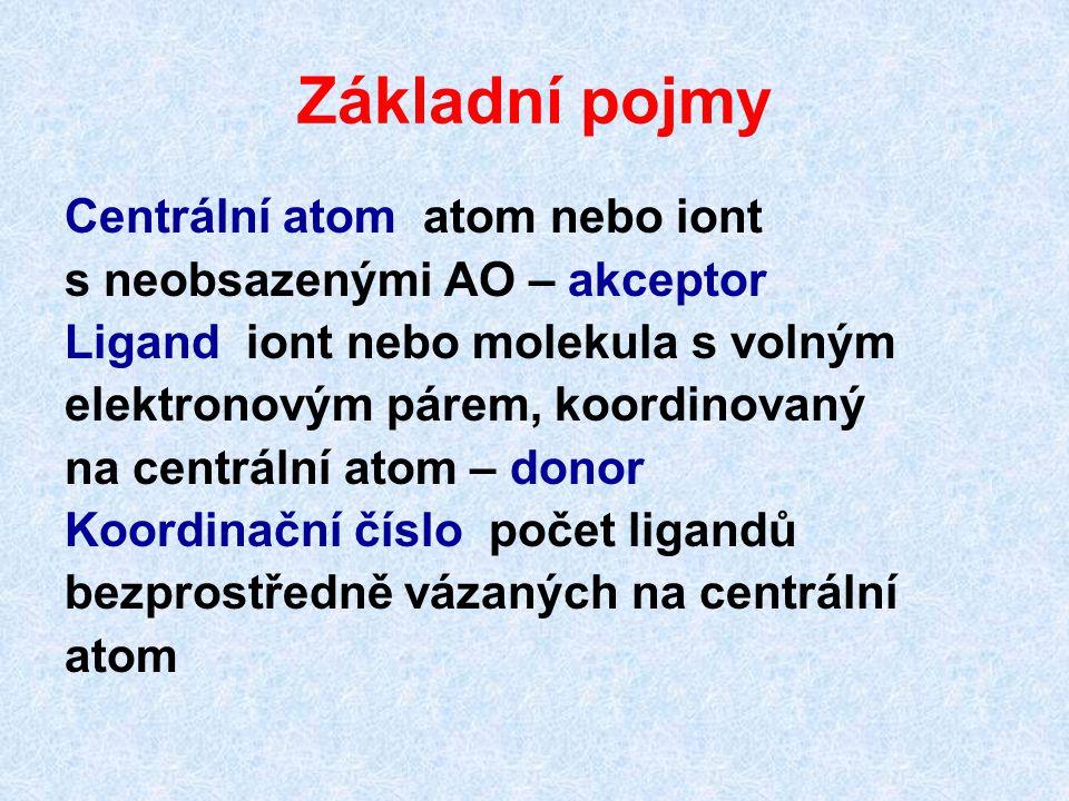 Základní pojmy Centrální atom atom nebo iont