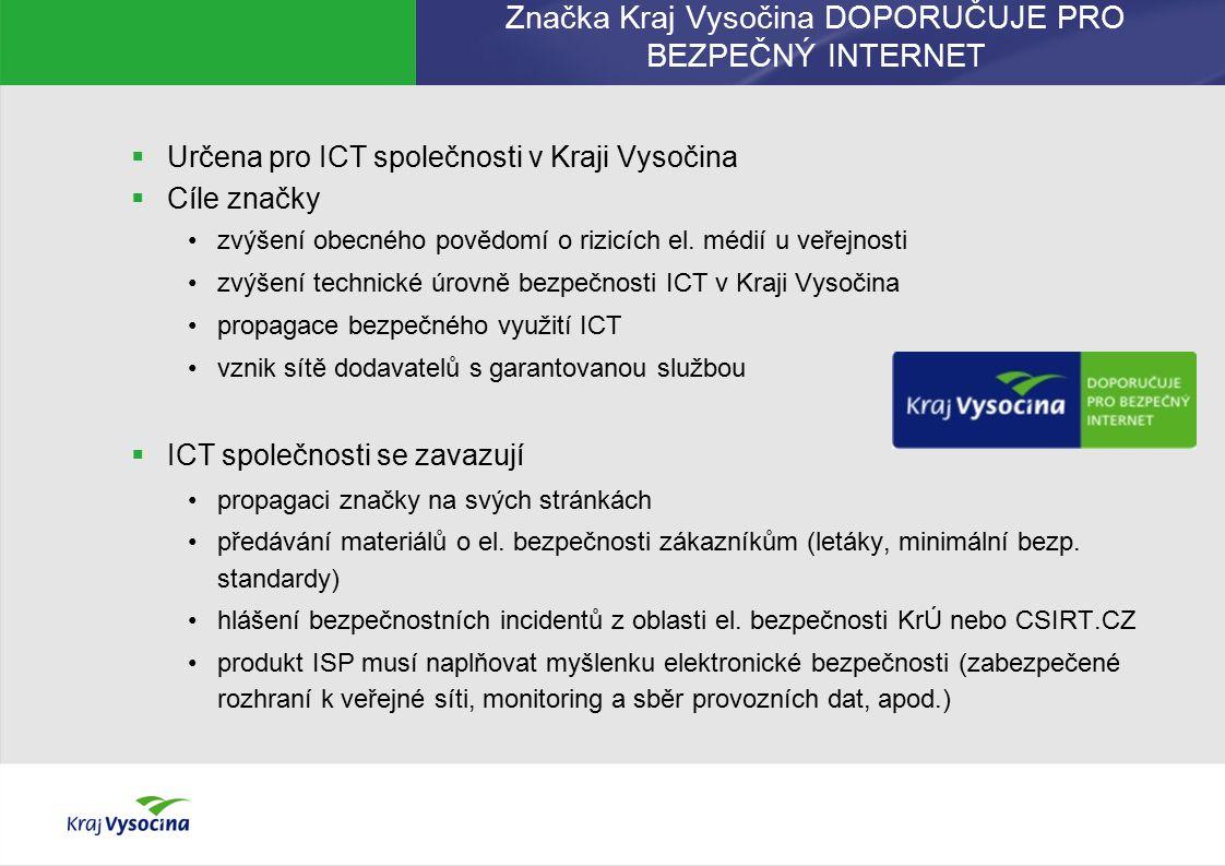 Značka Kraj Vysočina DOPORUČUJE PRO BEZPEČNÝ INTERNET