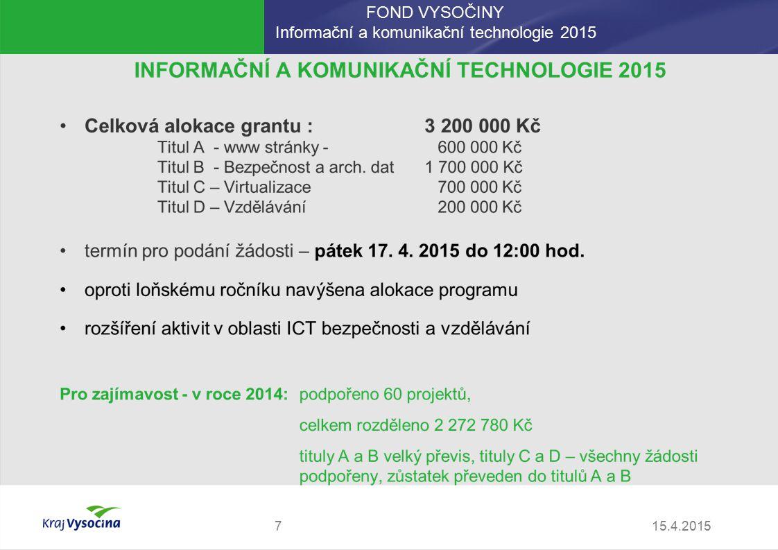 FOND VYSOČINY Informační a komunikační technologie 2015