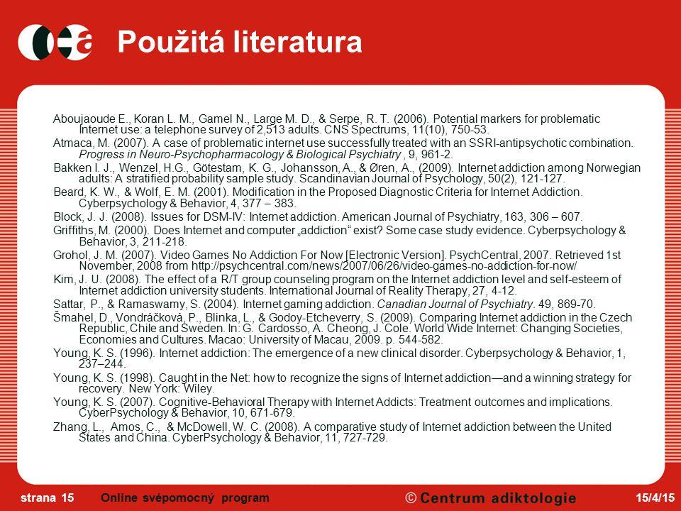 Použitá literatura Online svépomocný program 12/4/17