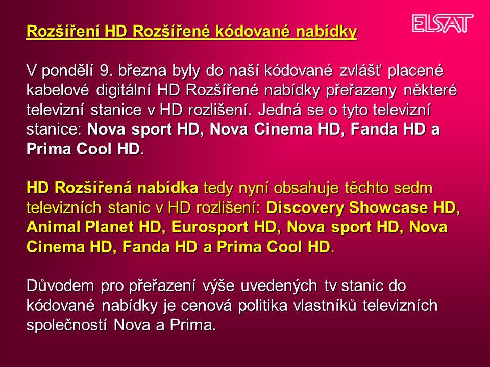 Rozšíření HD Rozšířené kódované nabídky V pondělí 9