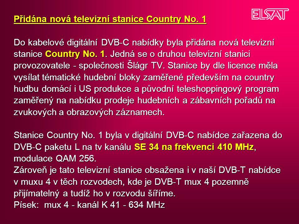 Přidána nová televizní stanice Country No