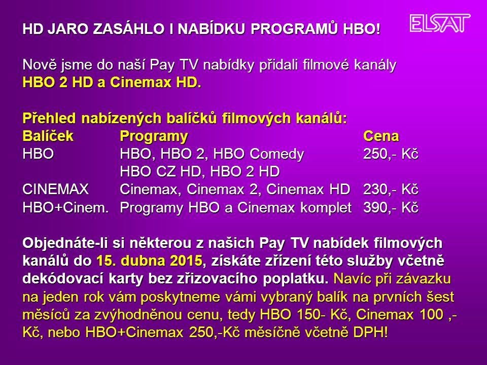 HD JARO ZASÁHLO I NABÍDKU PROGRAMŮ HBO