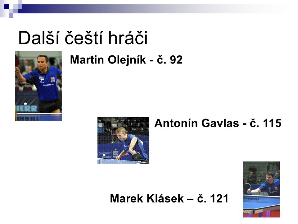 Další čeští hráči Martin Olejník - č. 92 Antonín Gavlas - č. 115