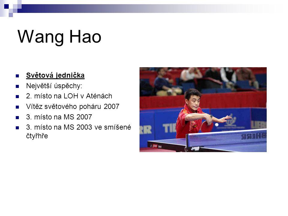 Wang Hao Světová jednička Největší úspěchy: 2. místo na LOH v Aténách