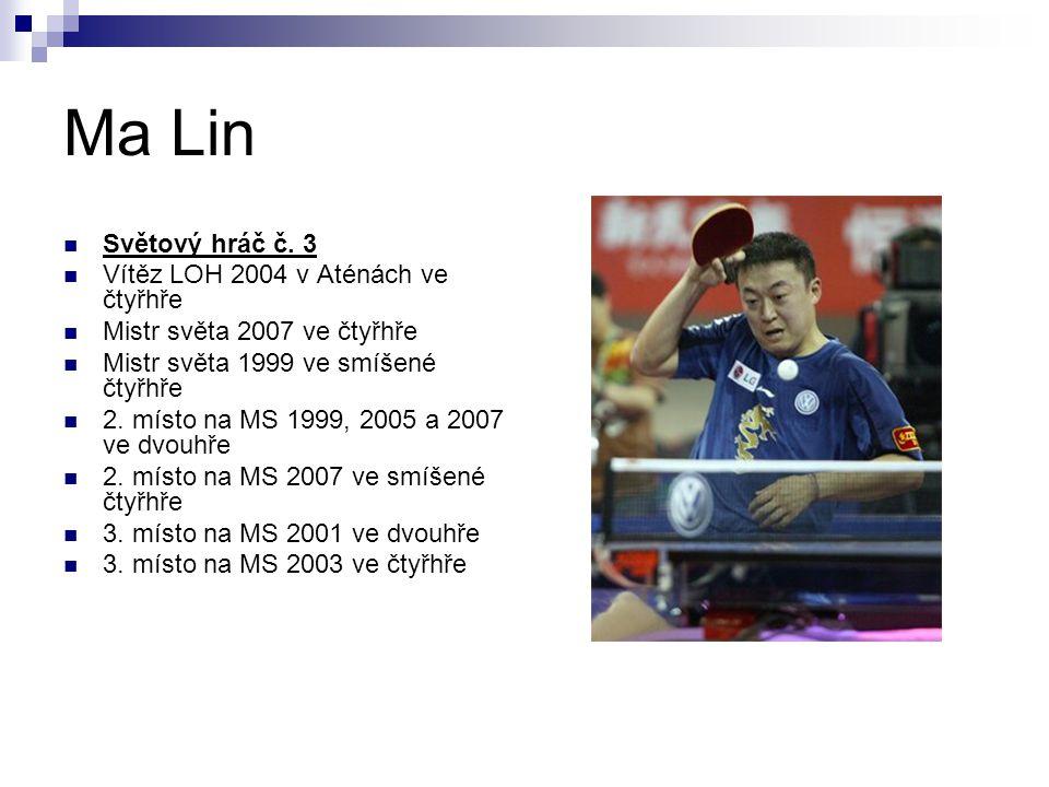 Ma Lin Světový hráč č. 3 Vítěz LOH 2004 v Aténách ve čtyřhře