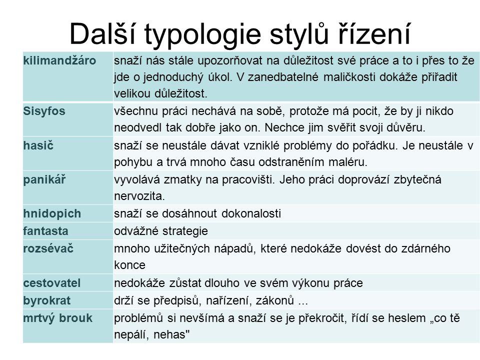 Další typologie stylů řízení
