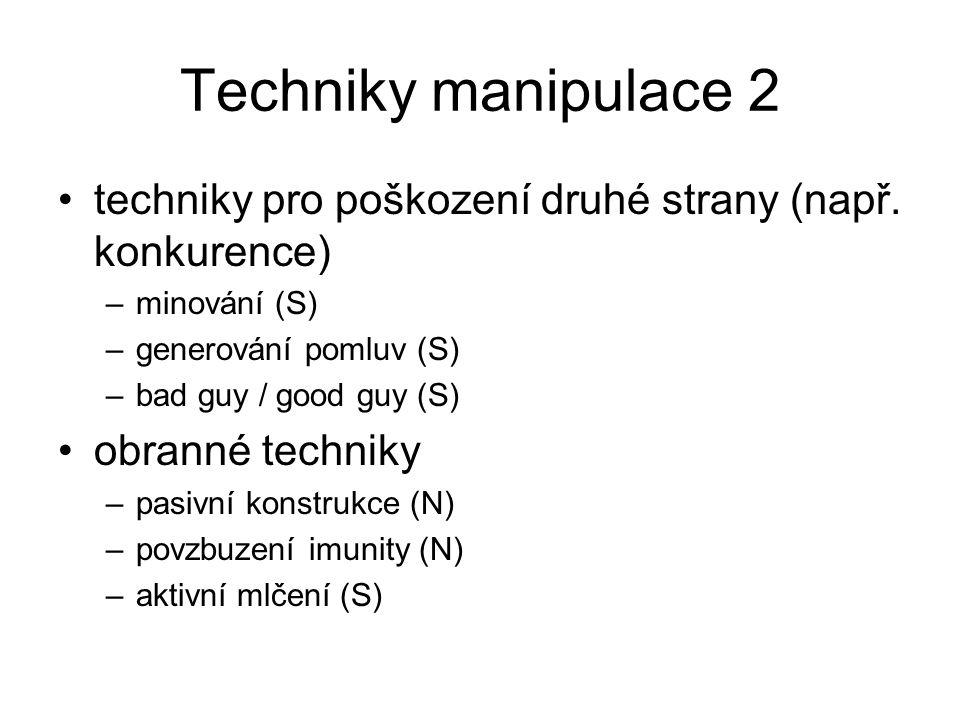 Techniky manipulace 2 techniky pro poškození druhé strany (např. konkurence) minování (S) generování pomluv (S)