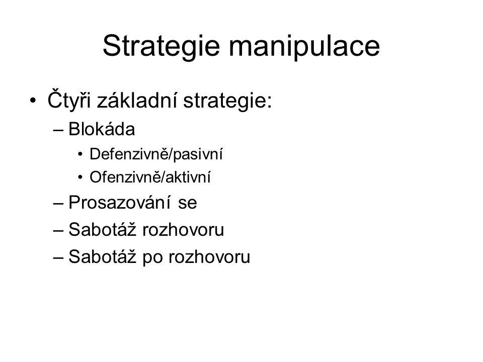 Strategie manipulace Čtyři základní strategie: Blokáda Prosazování se