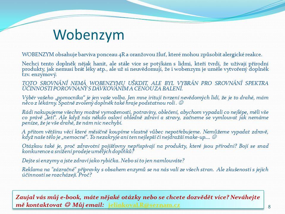 Alena Jelínková Wobenzym. WOBENZYM obsahuje barviva ponceau 4R a oranžovou žluť, které mohou způsobit alergické reakce.