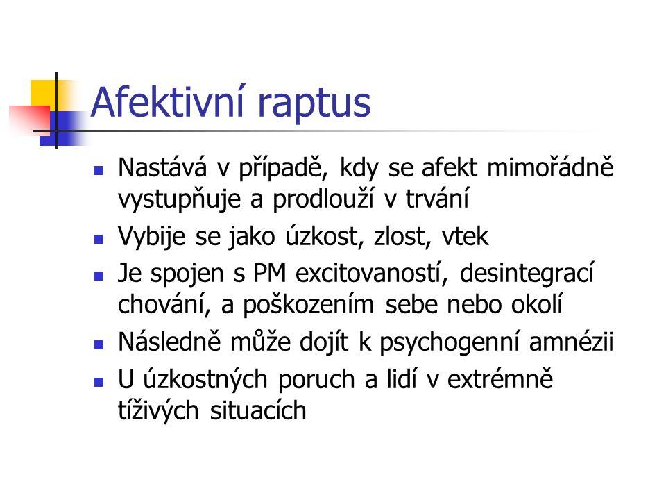Afektivní raptus Nastává v případě, kdy se afekt mimořádně vystupňuje a prodlouží v trvání. Vybije se jako úzkost, zlost, vtek.