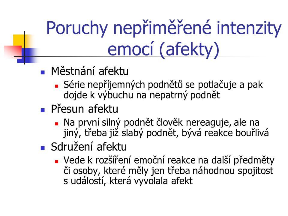 Poruchy nepřiměřené intenzity emocí (afekty)