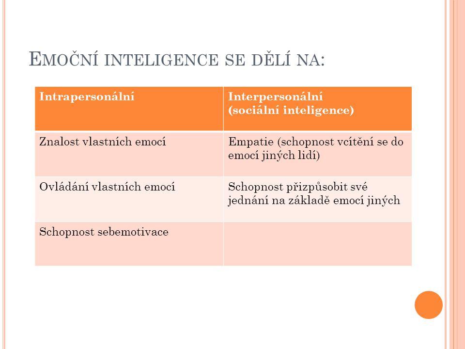 Emoční inteligence se dělí na:
